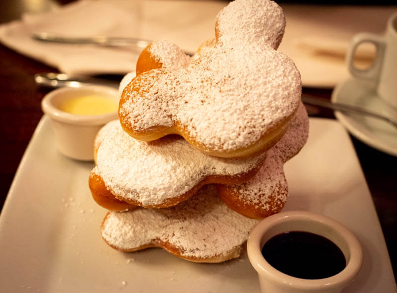 Stack of Mickey Beignets Cafe and Vanilla Coffee Dip Cafe Orleans Disneyland