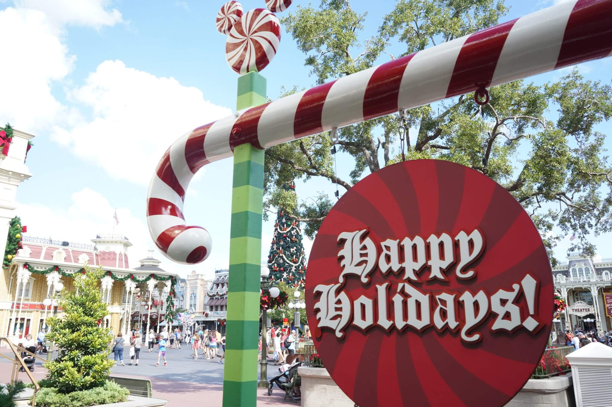 Happy Holidays Sign on Main Street in Disney World