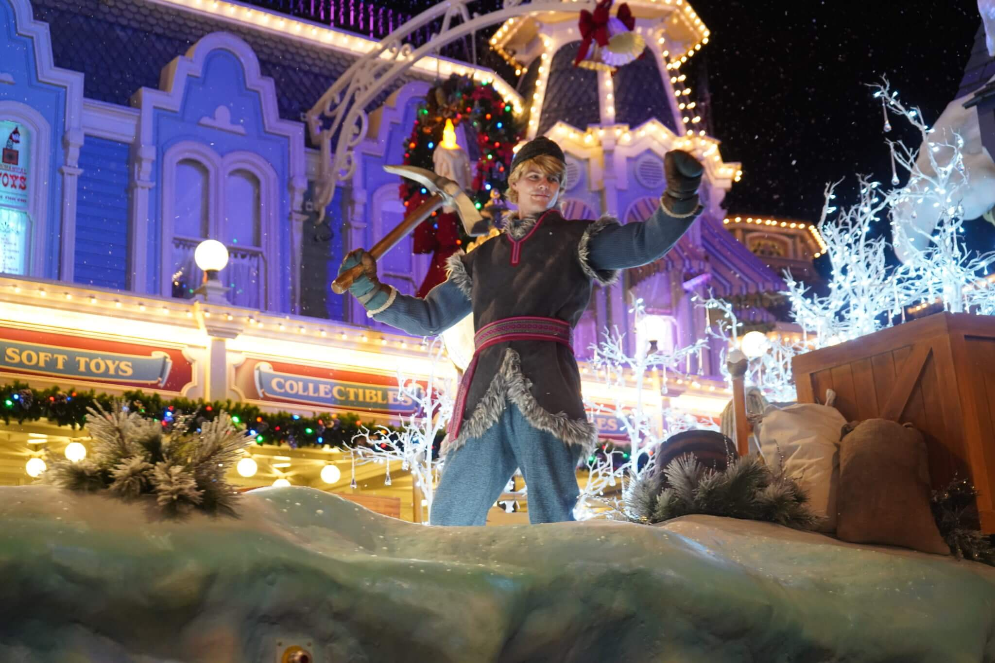 Kristoff from Frozen in Once Upon a Christmastime Parade on Main Street USA in Disney World