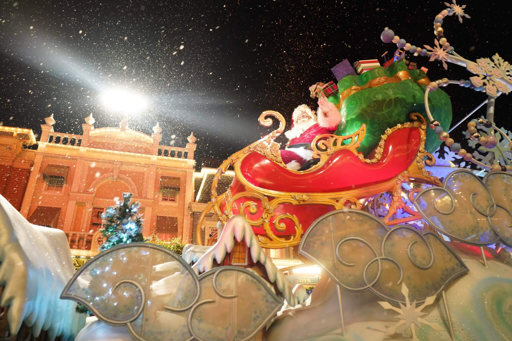 Santa in Once Upon a Christmastime Parade on Main Street USA in Disney World