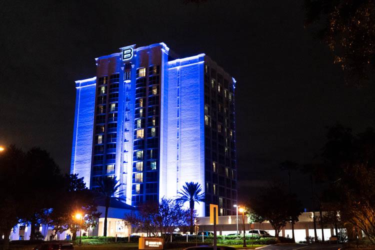 Disney World's B Resort and Spa Disney Springs Resort at Night