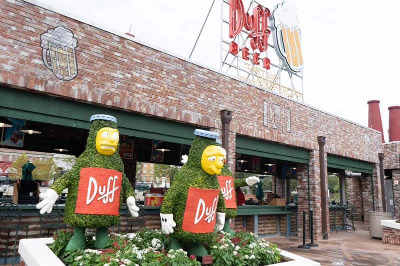 Duff Beer Brewery Garden with the seven duffs at universal studios orlando