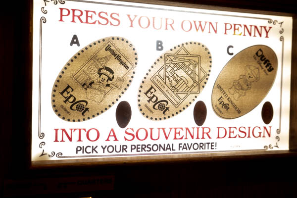 Disney World Epcot UK Pressed Penny Machine