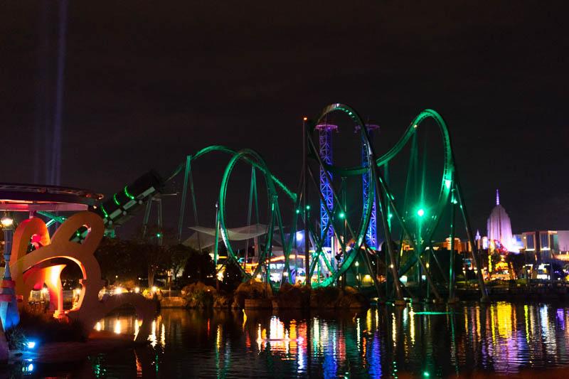 The Incredible Hulk Roller Coaster at night in Islands of Adventure - Universal Studios Orlando