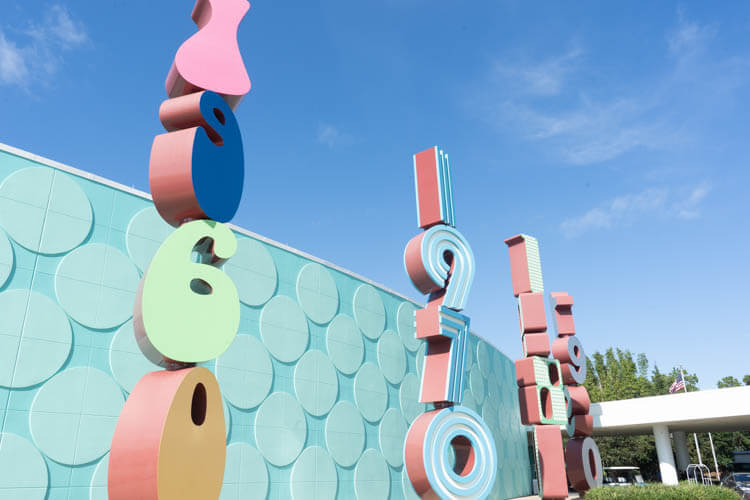 Disney World's Pop Century Resort Entrance Large Decade Signs