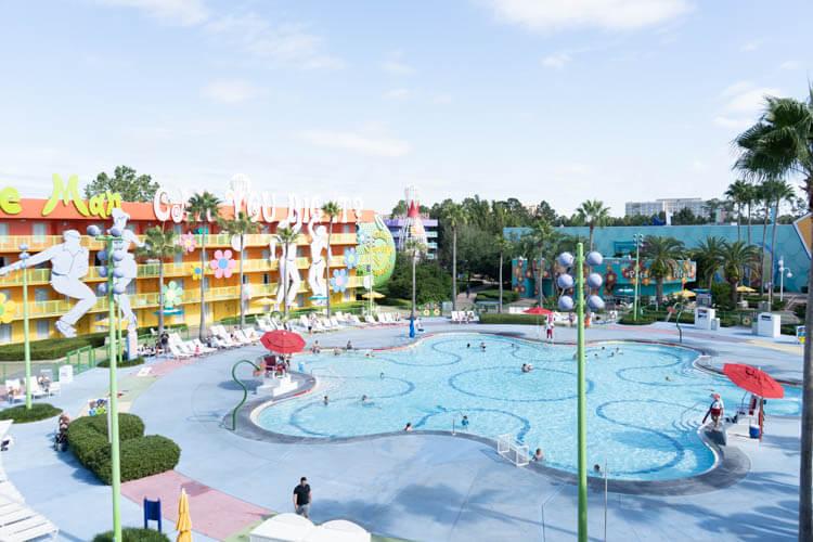 60s Hippy Dippy Pool aerial view - Disney's Pop Century Resort