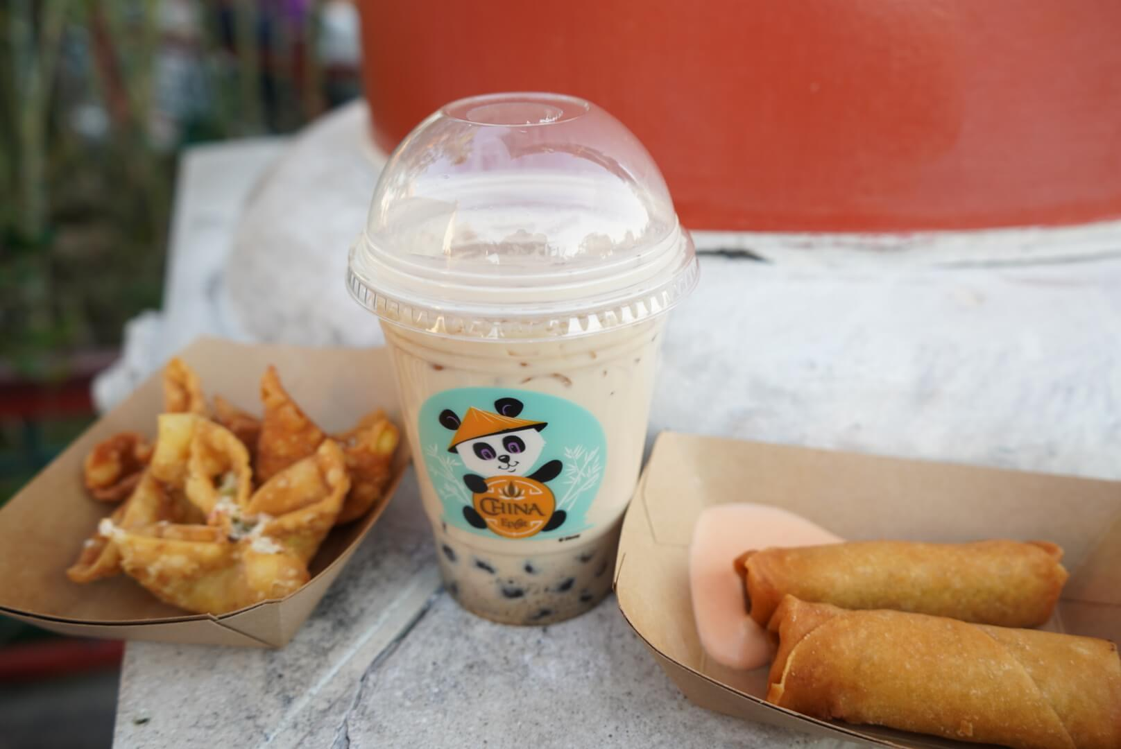 Crab and Cream Cheese Won Ton, Panda Bubble Tea, and Spring Rolls, from Lotus House China at Epcot Flower and Garden Festival 2019