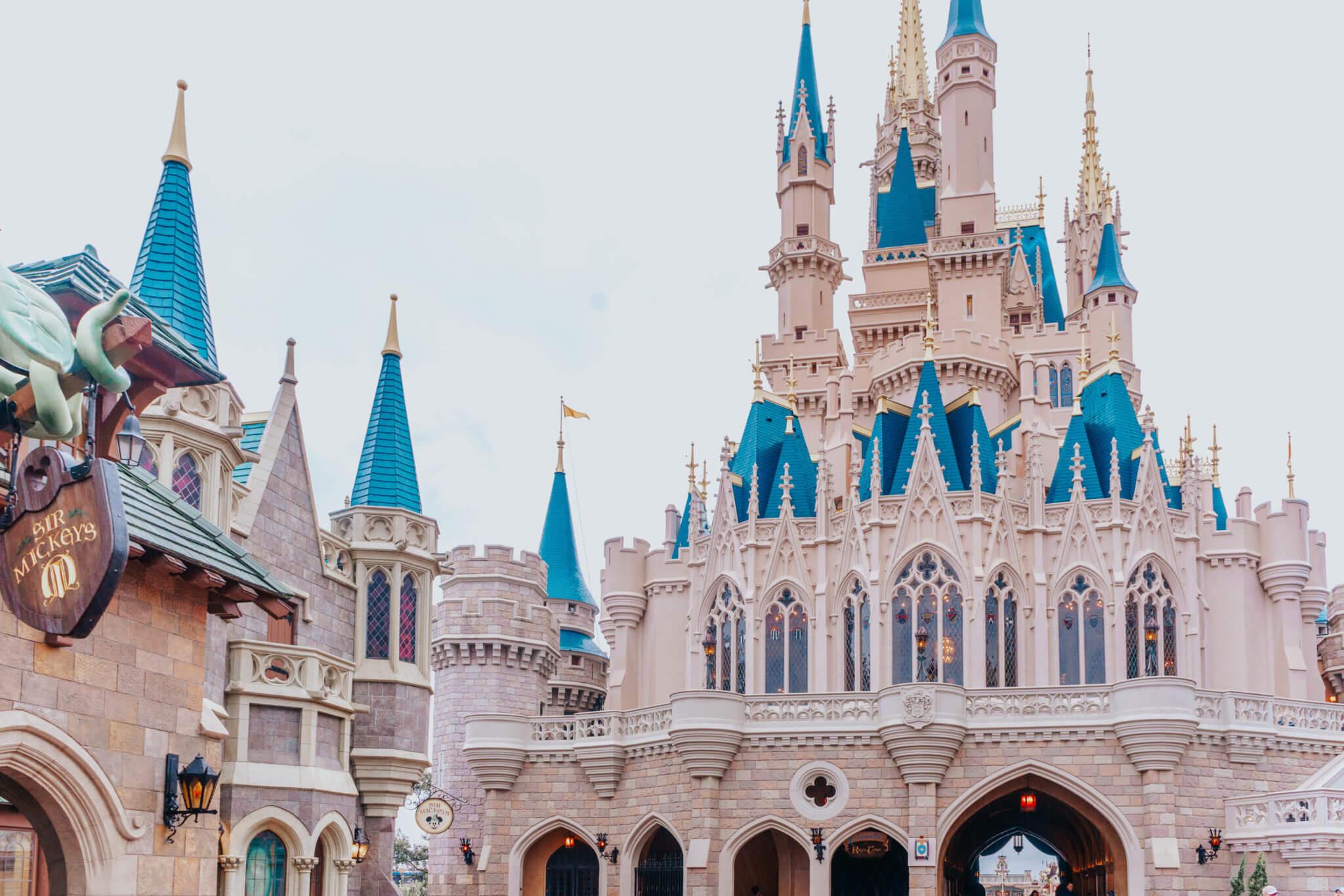 Back of Cinderella Castle at Disney World Pink Filter