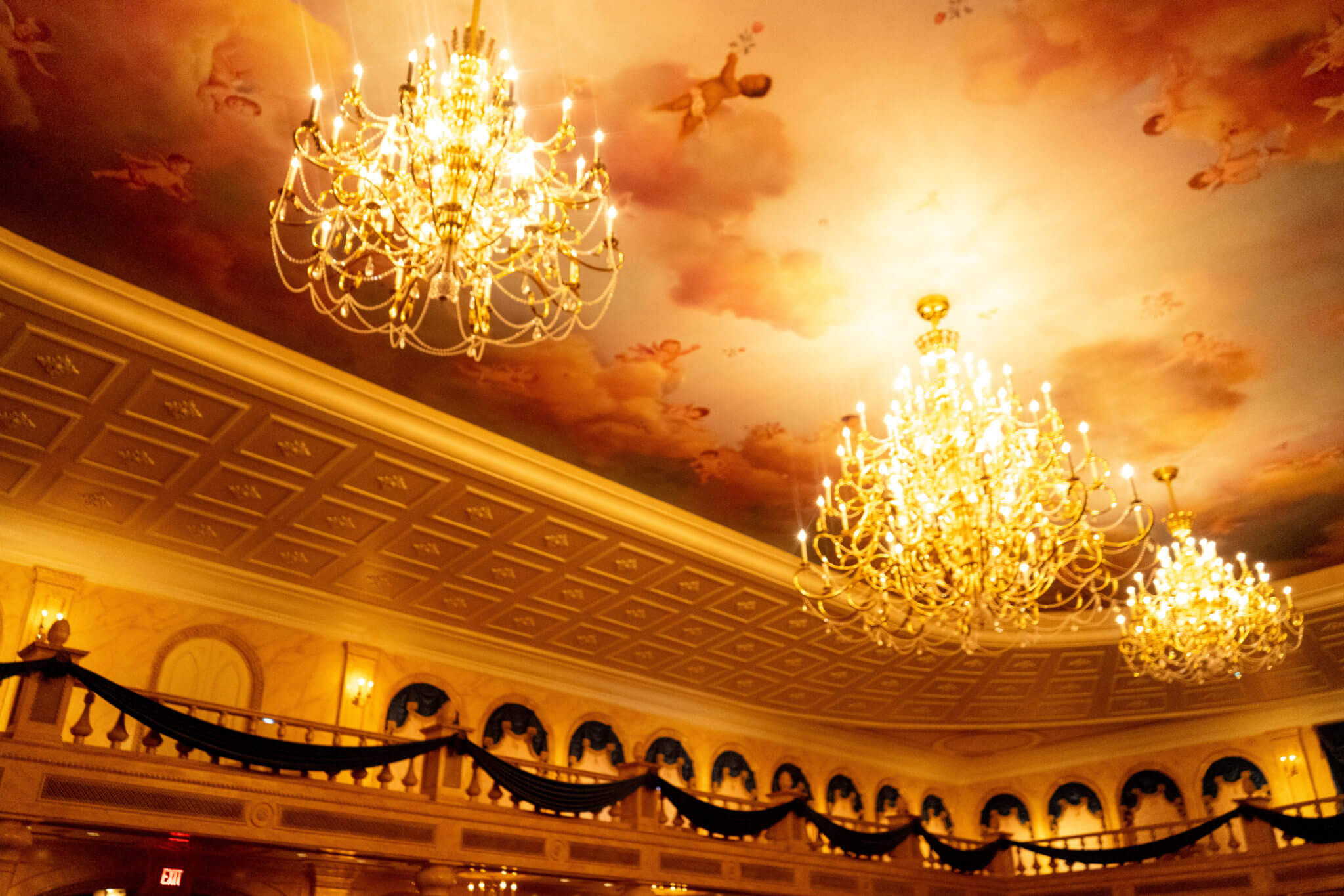 Be Our Guest Ceiling Chandeliers in Magic Kingdom - Disney World
