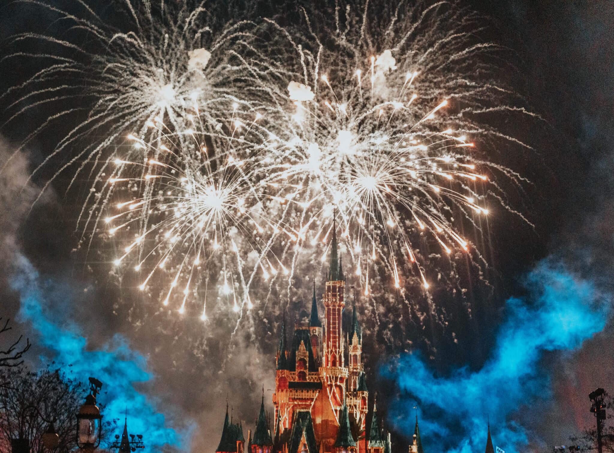 Cinderella Castle Happily Ever After Fireworks with pink filter