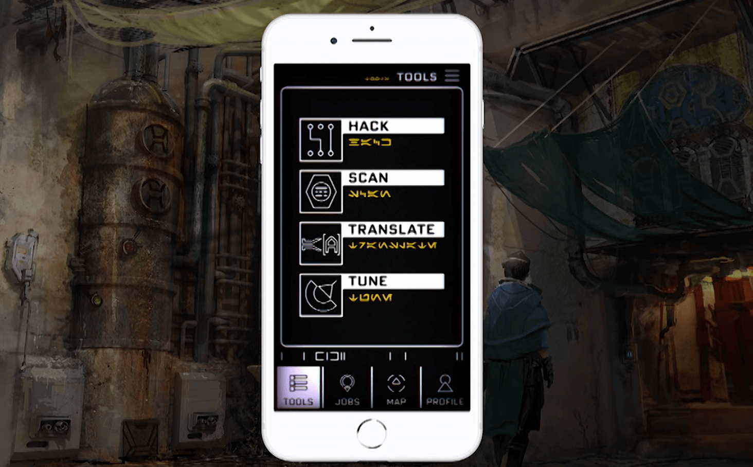 Play Disney Parks App Star Wars: Galaxy's Edge iPhone functions and game