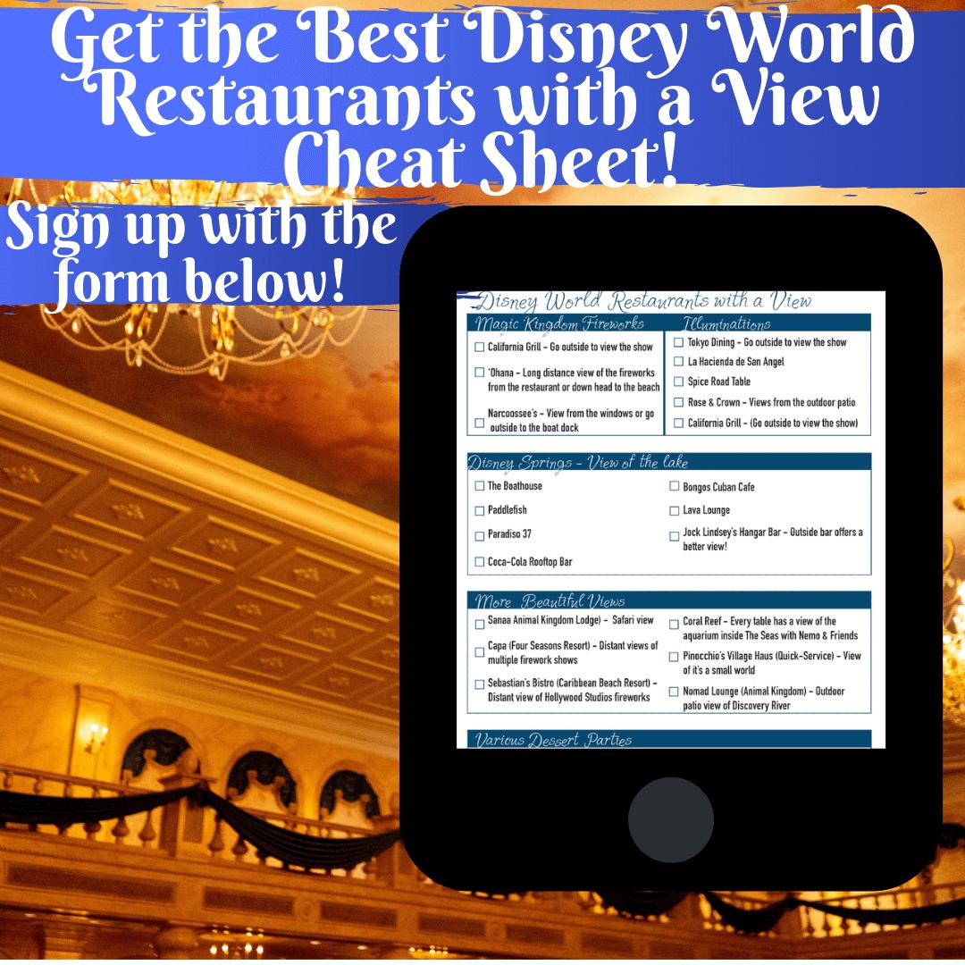 Get the Best Disney World Restaurants with a View Cheat Sheet!