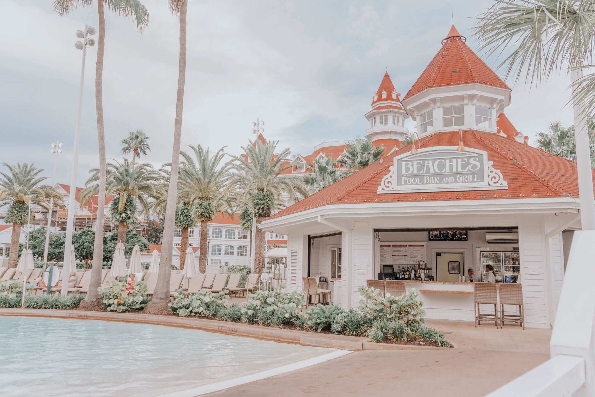 Disney World's Grand Floridian Courtyard pool with beaches pool bar and grill