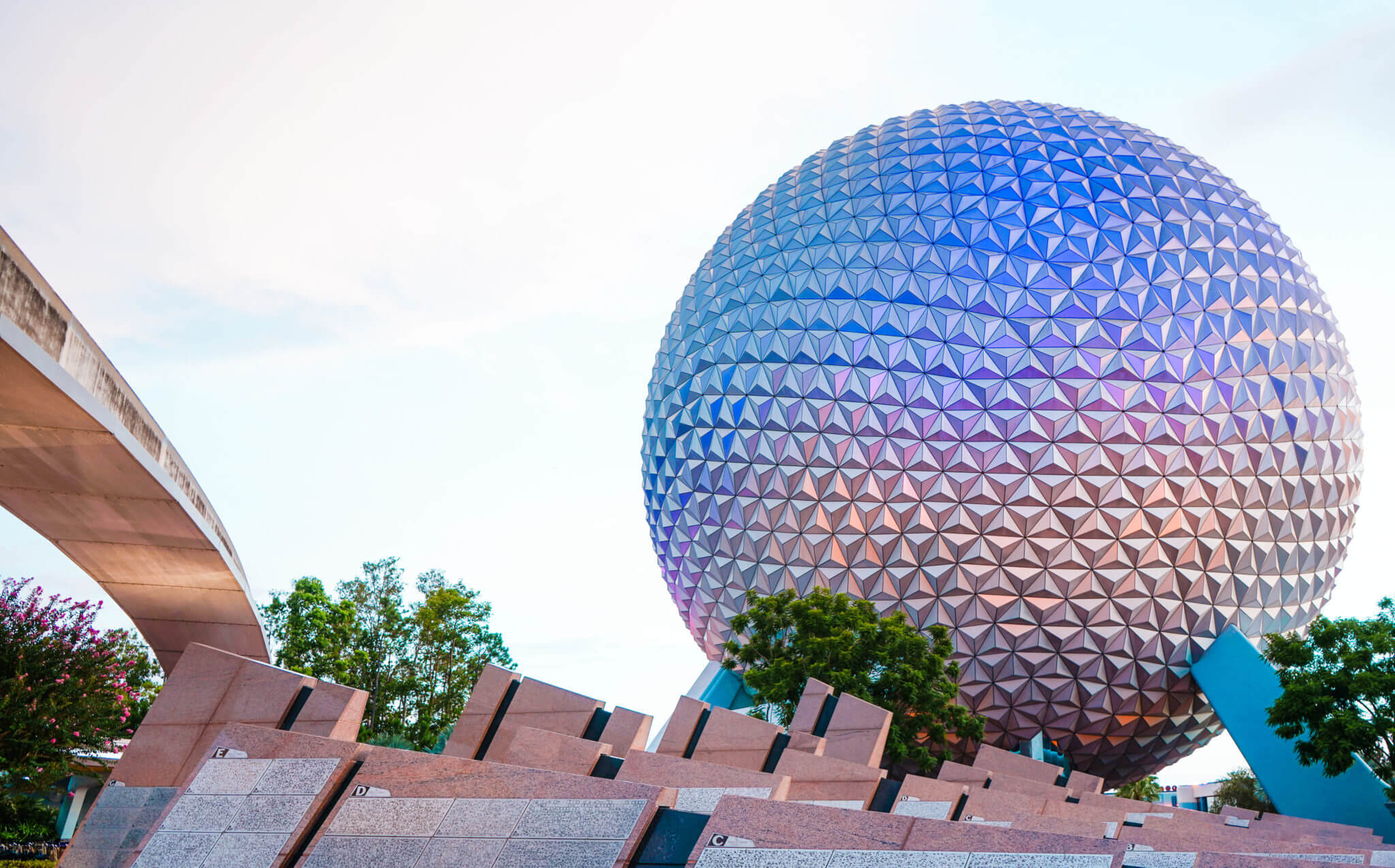 Blue and Pink Epcot with monorail and name tag stones