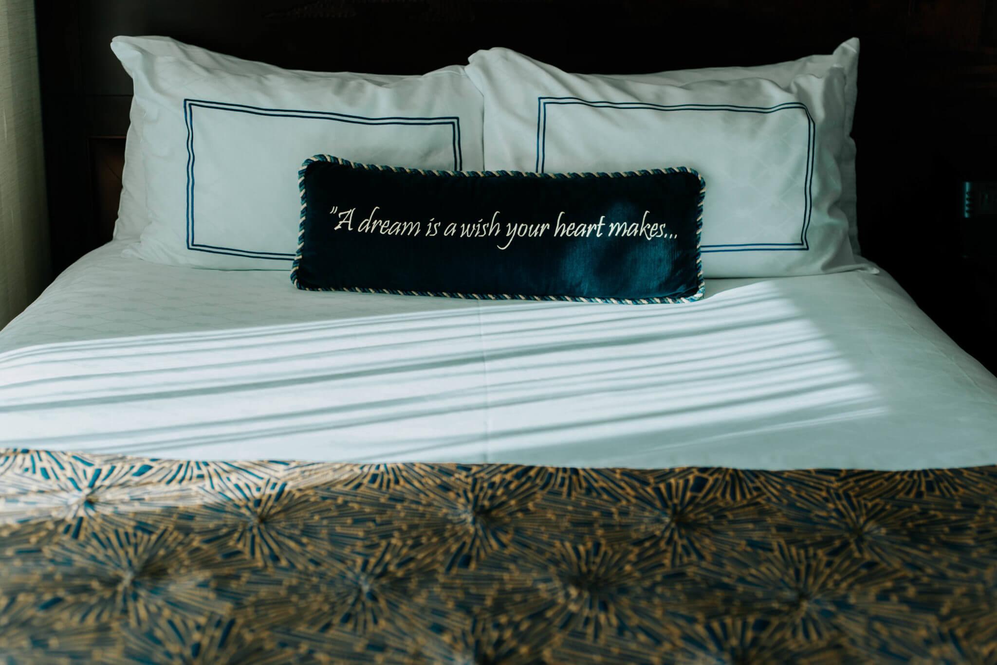 The Disneyland Hotel Room with cinderella pillow