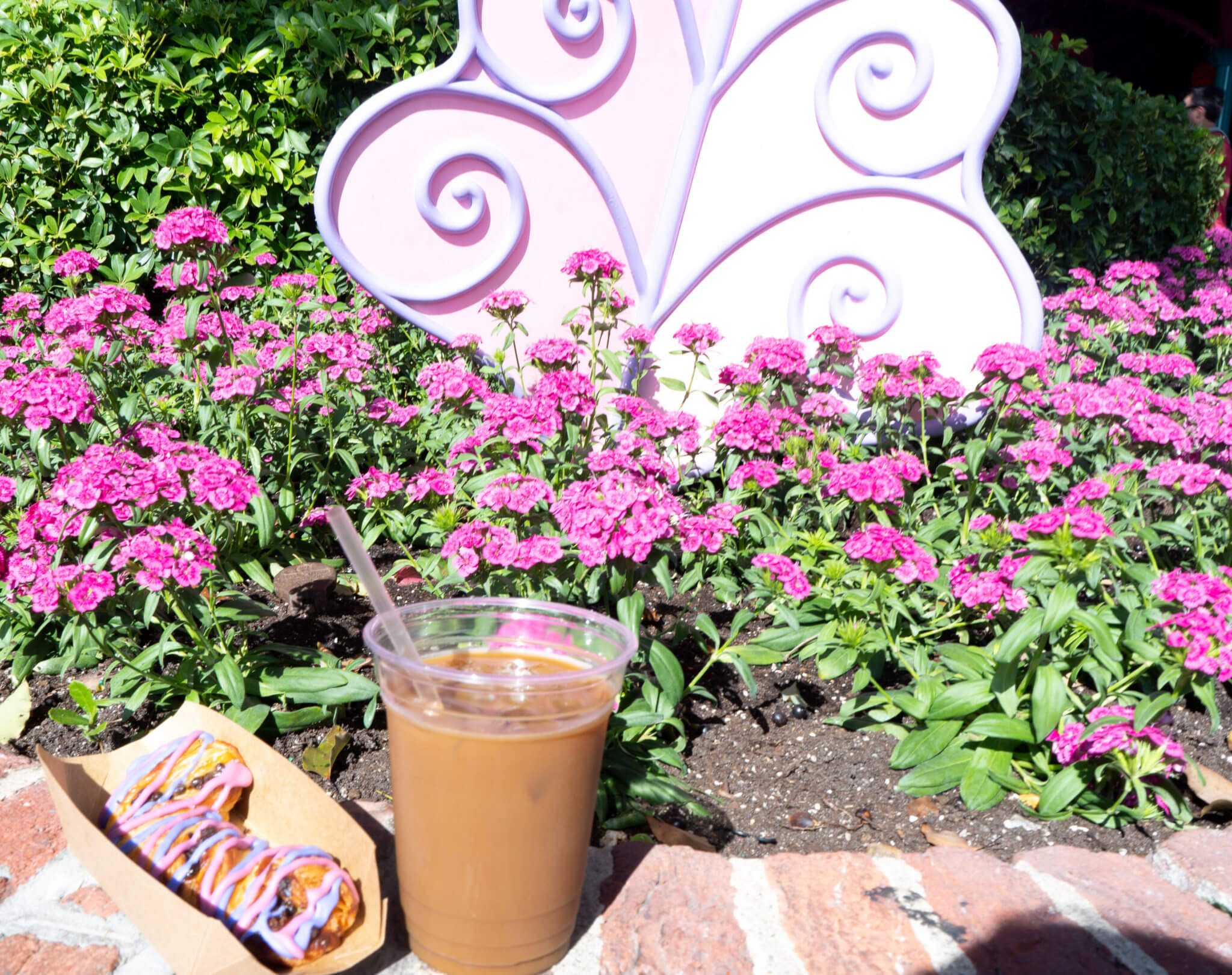 Cheshire Cat Tail Pastry and Cold Brew Coffee from Cheshire Cafe in Disney World's Magic Kingdom