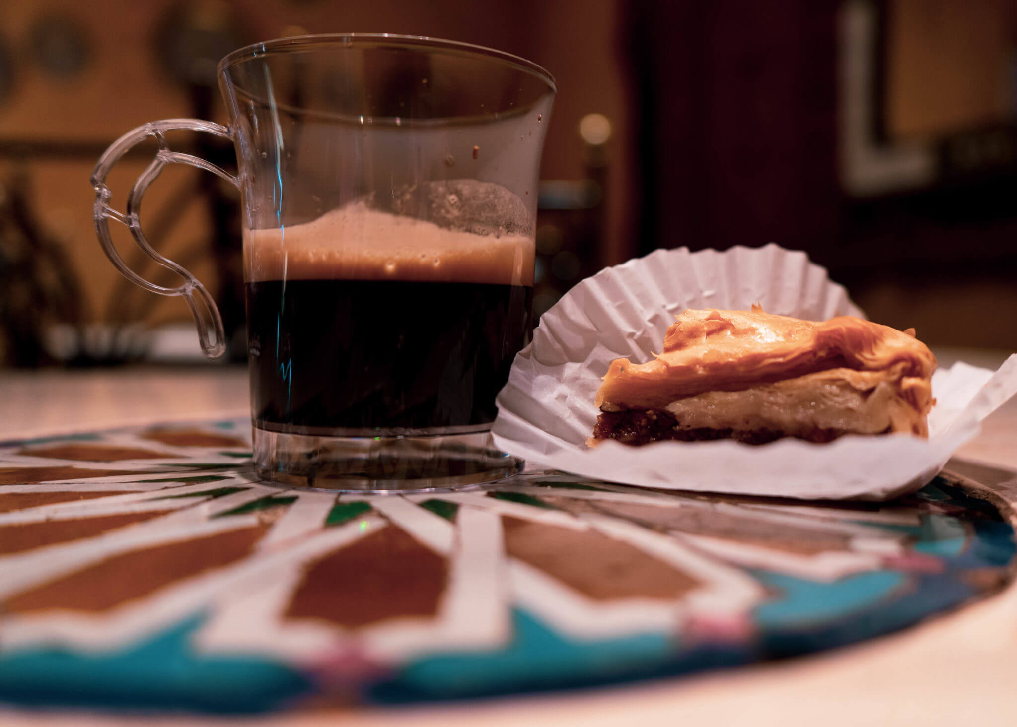 Tangierine Coffee and Baklava from Morocco pavilion in Disney World's Epcot