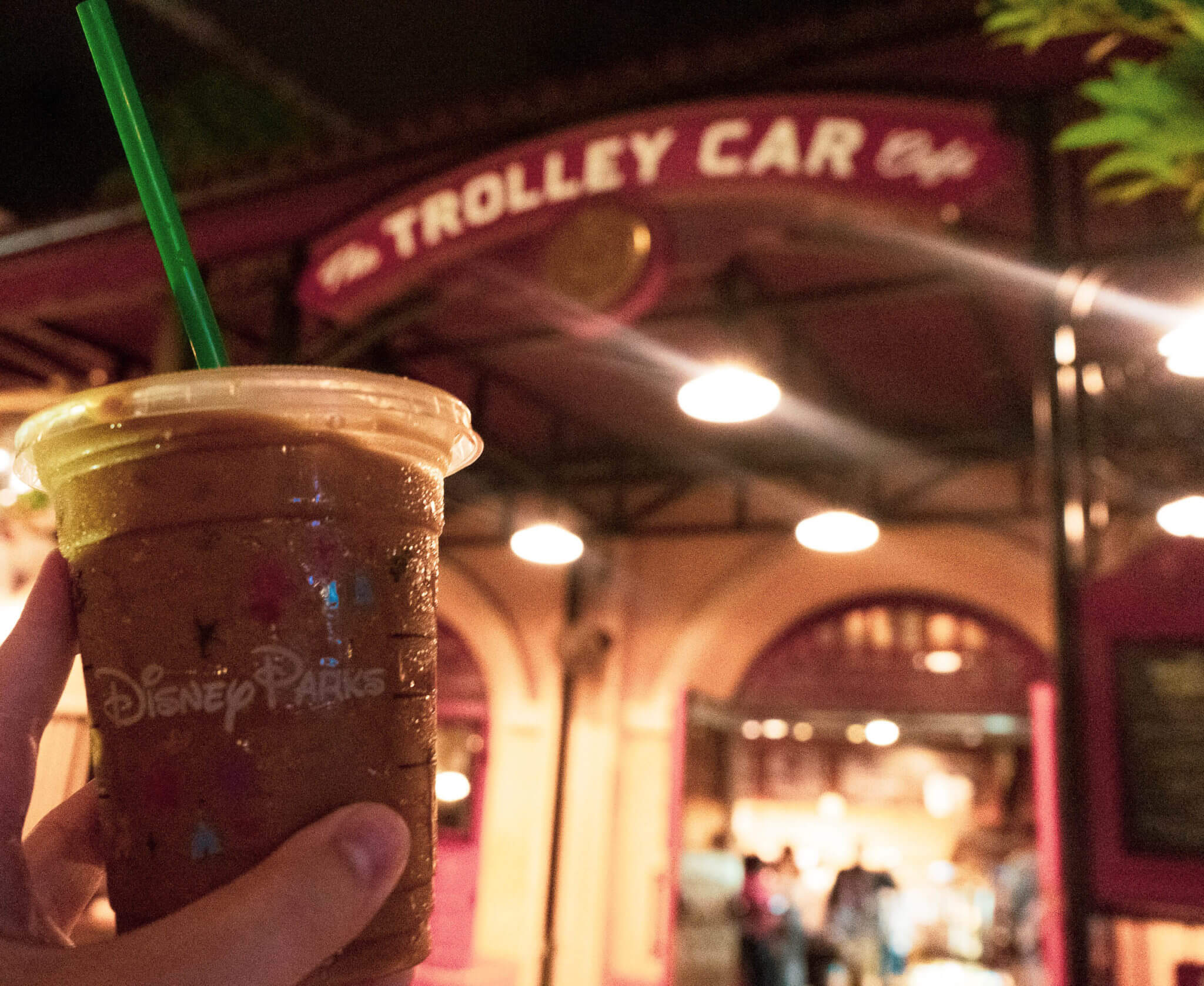 Iced latte coffee from Trolley Car Cafe in Hollywood Studios at Disney World