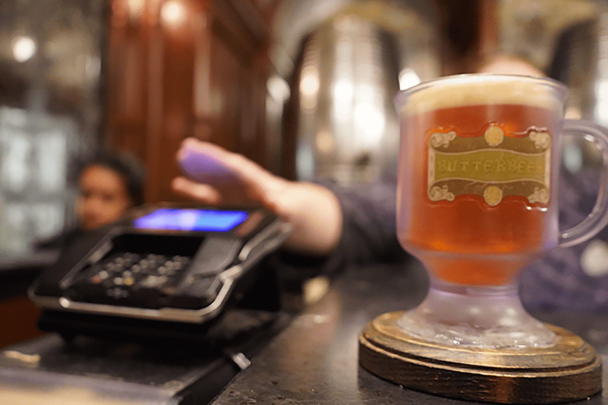 Cold Butterbeer inside The Hopping Pot in Diagon Alley at Universal Studios Orlando