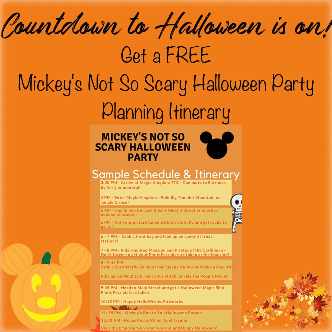 Free Disney World Mickey's Not So Scary Halloween Party Itinerary