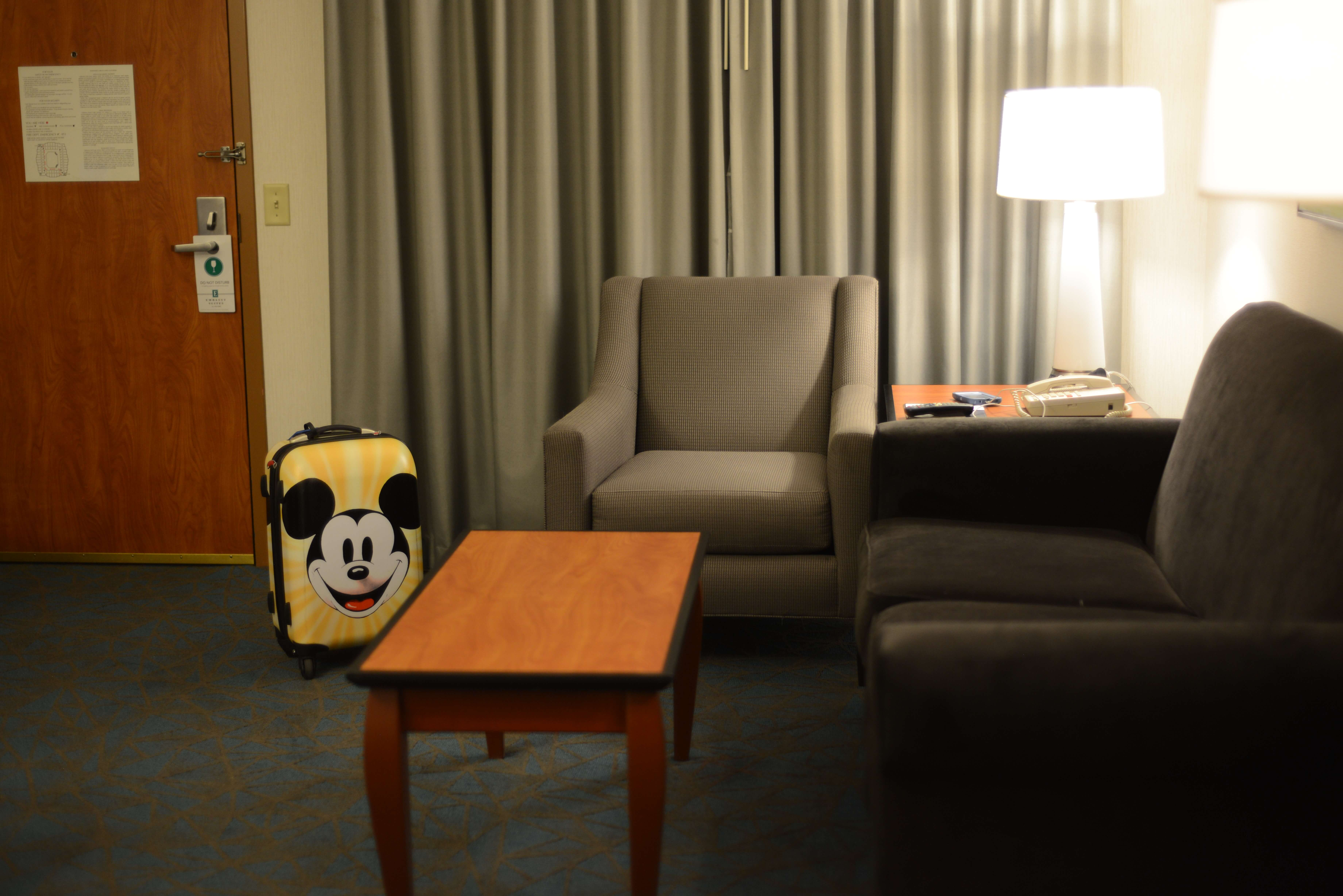 Embassy Suites Anaheim North suite room and a short distance from Disneyland