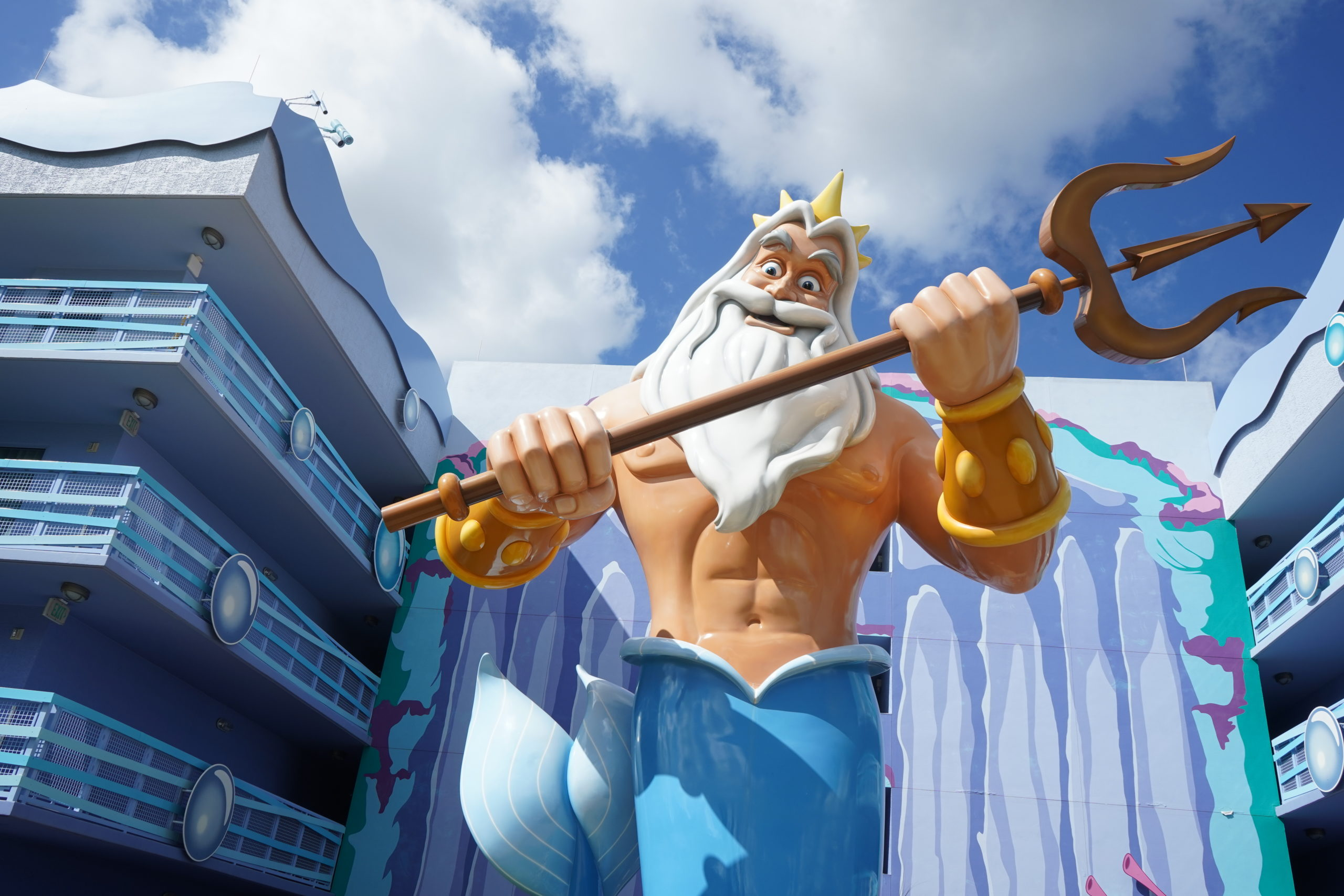 Clear photo of King Triton from Little Mermaid statue at Art of Animation