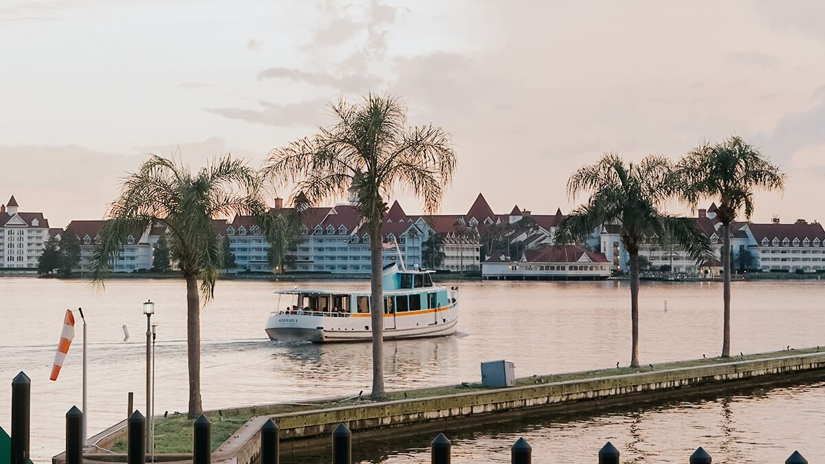 Grand Floridian on Seven Seas Lagoon with boat