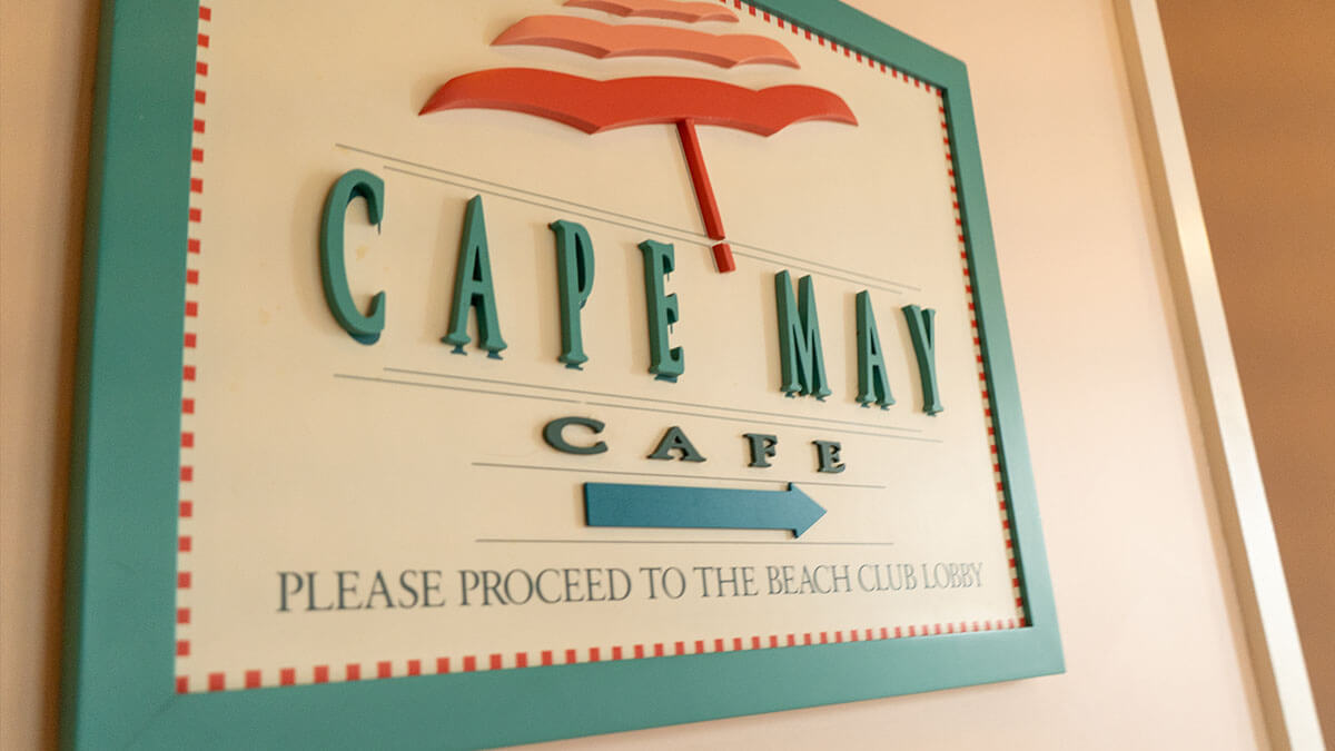 Cape May Cafe Entrance Sign at Beach Club