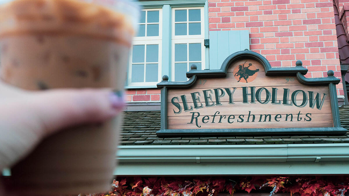 Iced coffe in front of Sleepy Hollow Refreshments