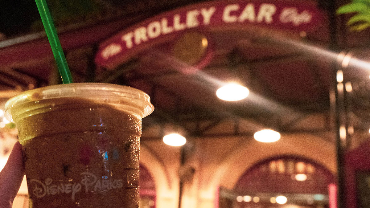 iced latte from trolley car cafe in hollywood studios