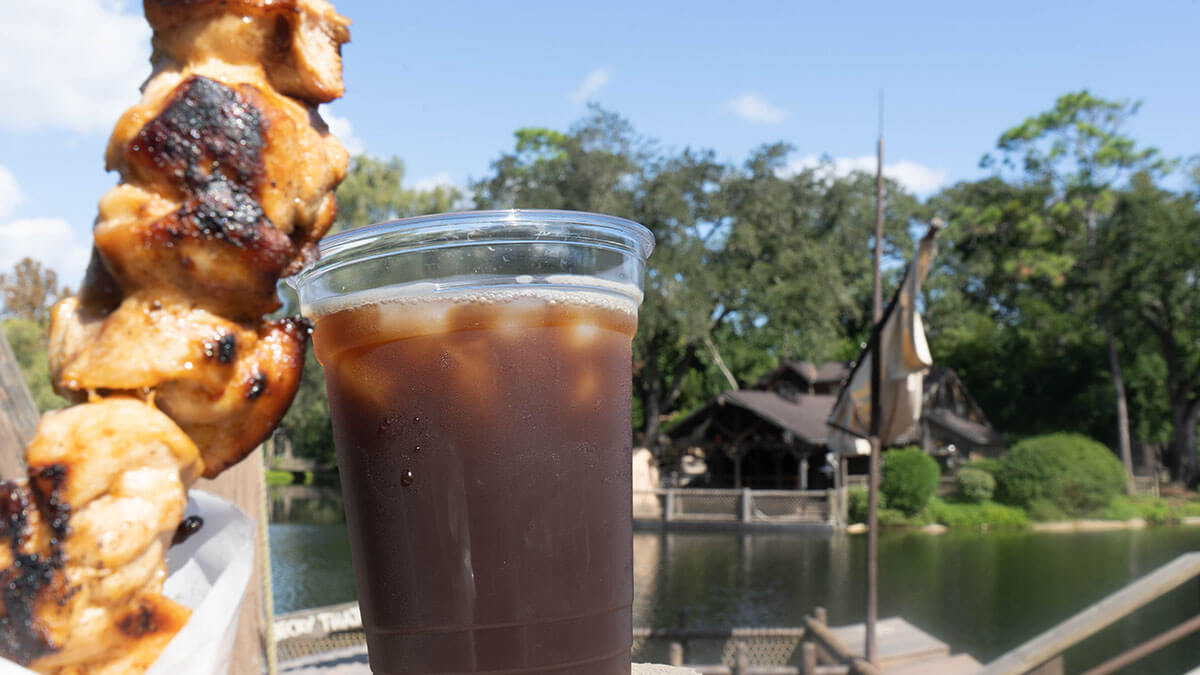 sweet and spicy Chicken skewer and coffee from Westward Ho in Magic Kingdom